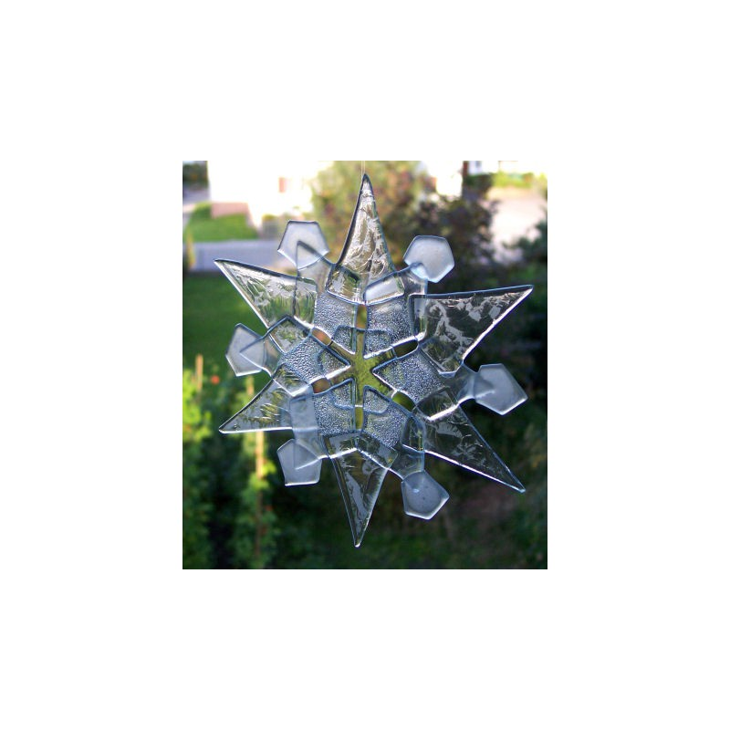 Snowflake fused from glass