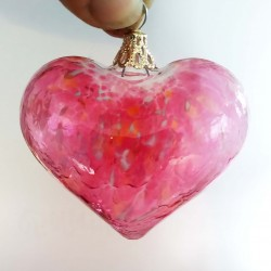 """Glass heart gold ruby 2.8"""""""