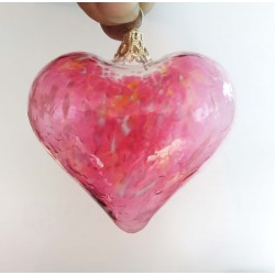 """Glass heart gold ruby 2.2"""""""