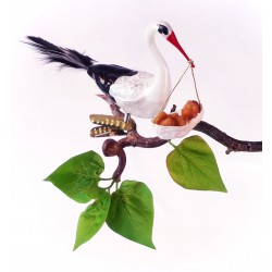Stork with baby made of mouth-blown glass